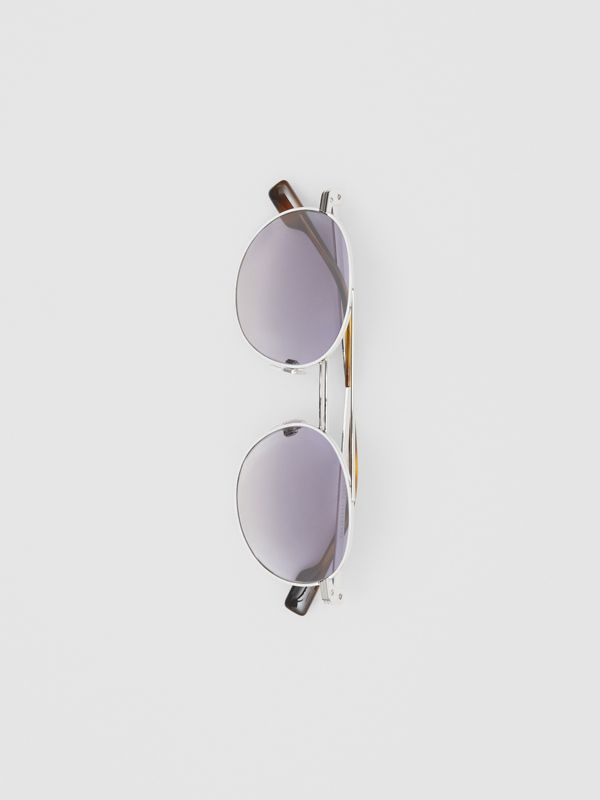 Top Bar Detail Round Frame Sunglasses in Silver - Men | Burberry United Kingdom - cell image 3
