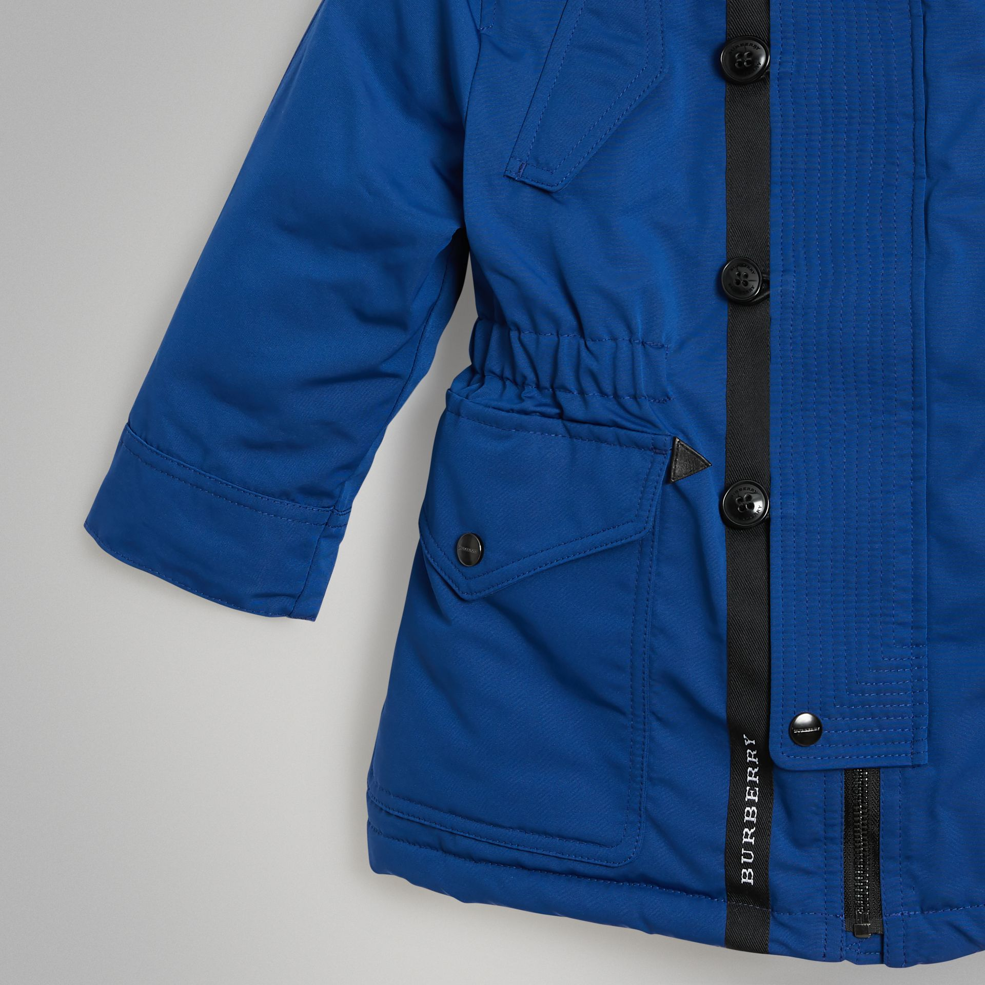 Detachable Hood Down-filled Parka Coat in Bright Cobalt | Burberry United Kingdom - gallery image 4