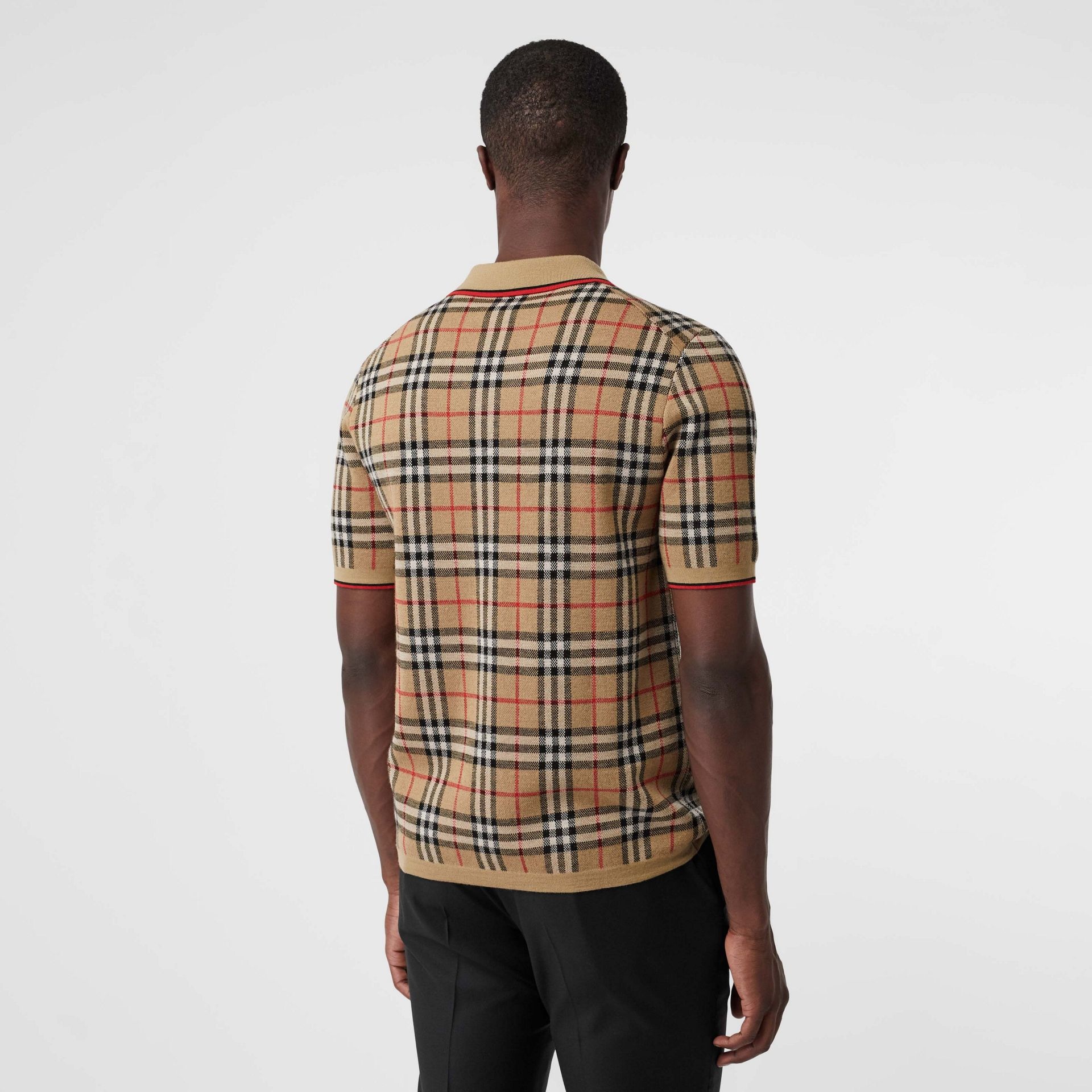 Vintage Check Merino Wool Polo Shirt in Archive Beige - Men | Burberry United States - gallery image 2