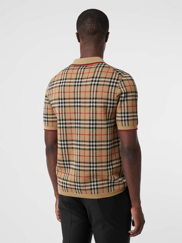 Vintage Check Merino Wool Polo Shirt in Archive Beige - Men | Burberry United States - cell image 2
