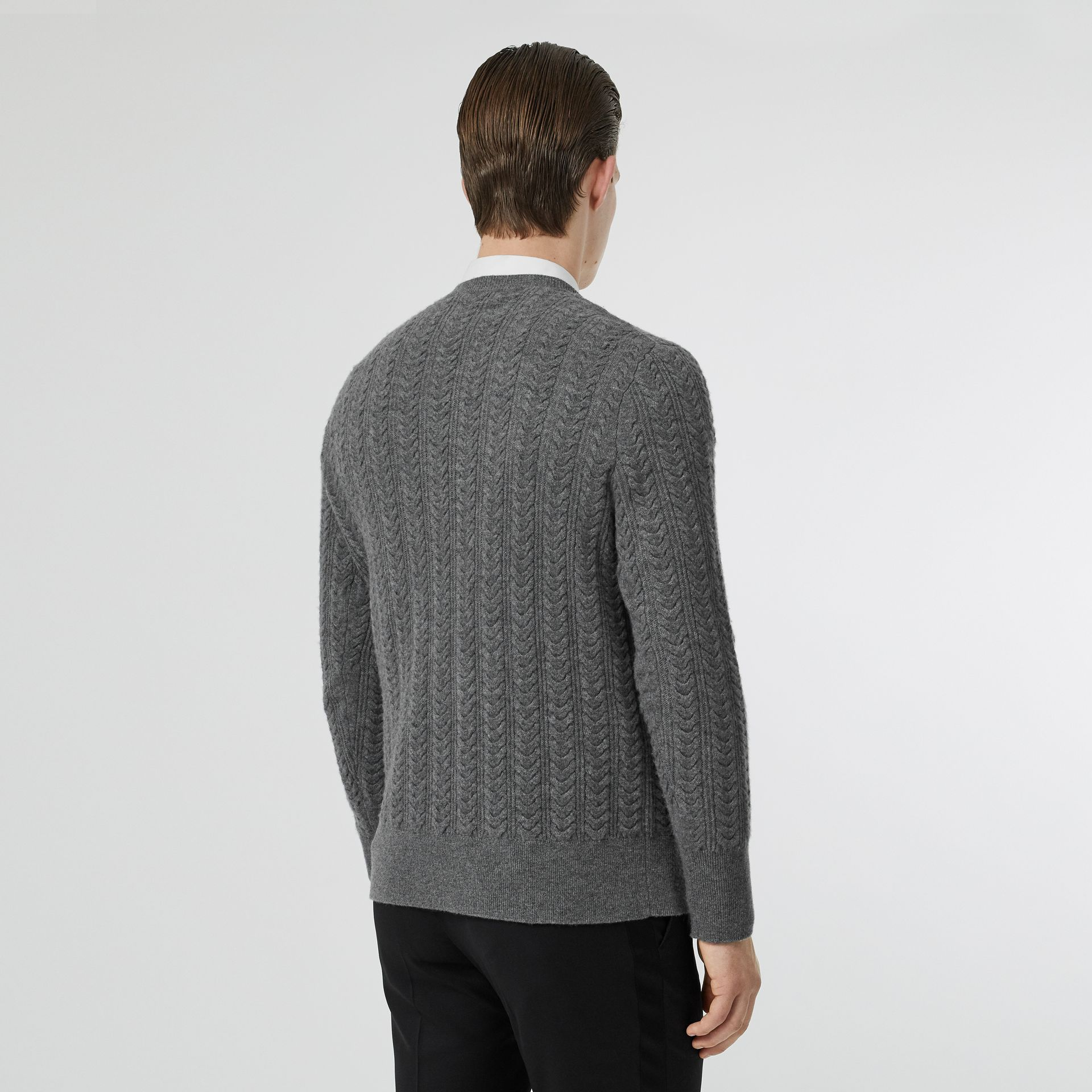 Cable Knit Cashmere Sweater in Mid Grey Melange - Men | Burberry - gallery image 2