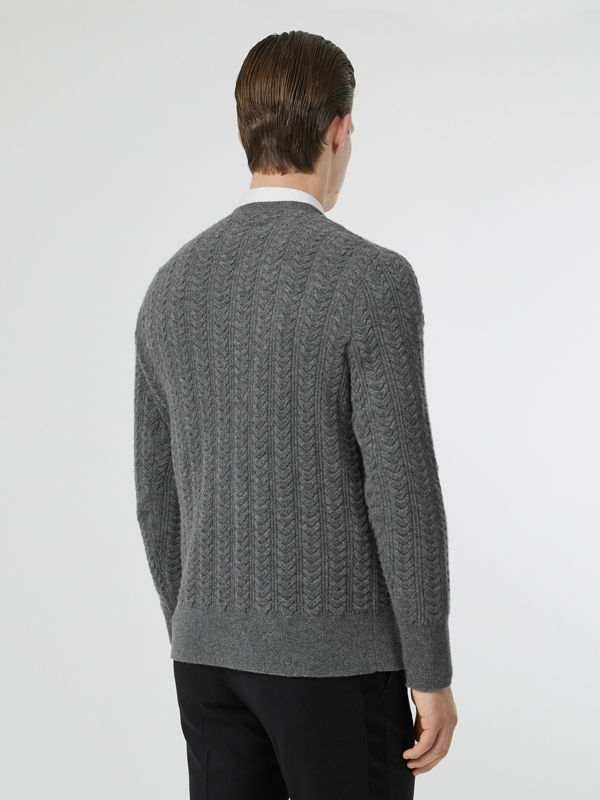 Cable Knit Cashmere Sweater in Mid Grey Melange - Men | Burberry - cell image 2