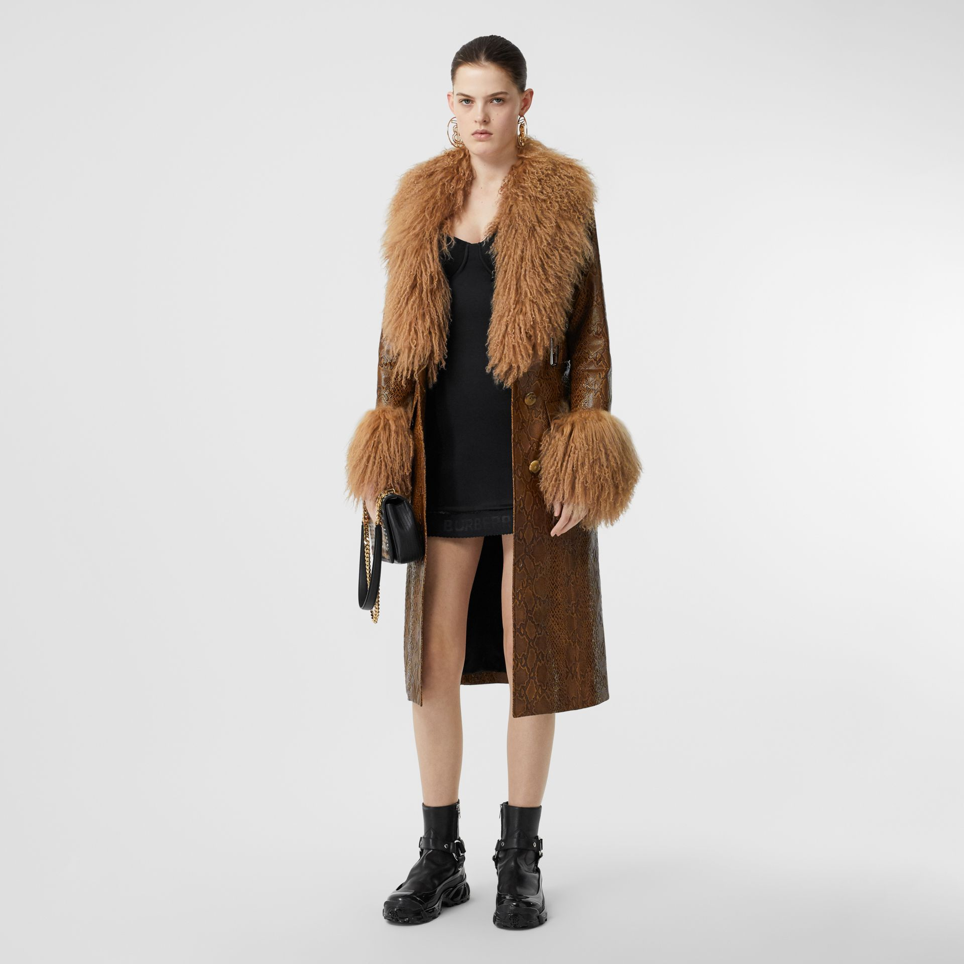 Shearling Trim Python Print Leather Coat in Brown - Women | Burberry United Kingdom - gallery image 0
