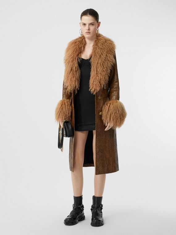 Shearling Trim Python Print Leather Coat in Brown