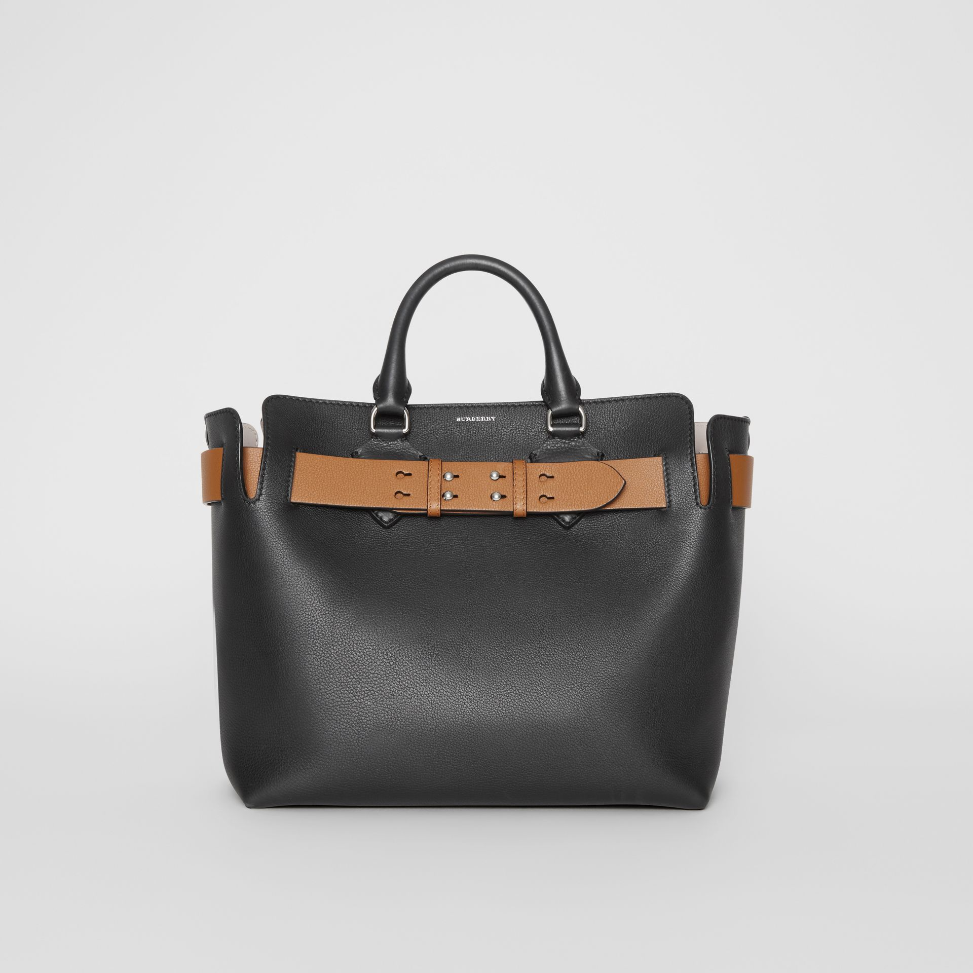 The Medium Leather Belt Bag in Black/tan - Women | Burberry United Kingdom - gallery image 0
