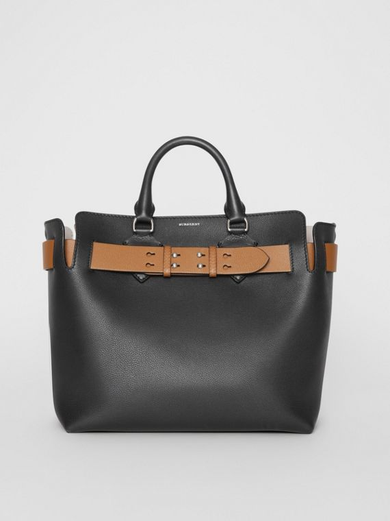 The Medium Leather Belt Bag in Black/tan
