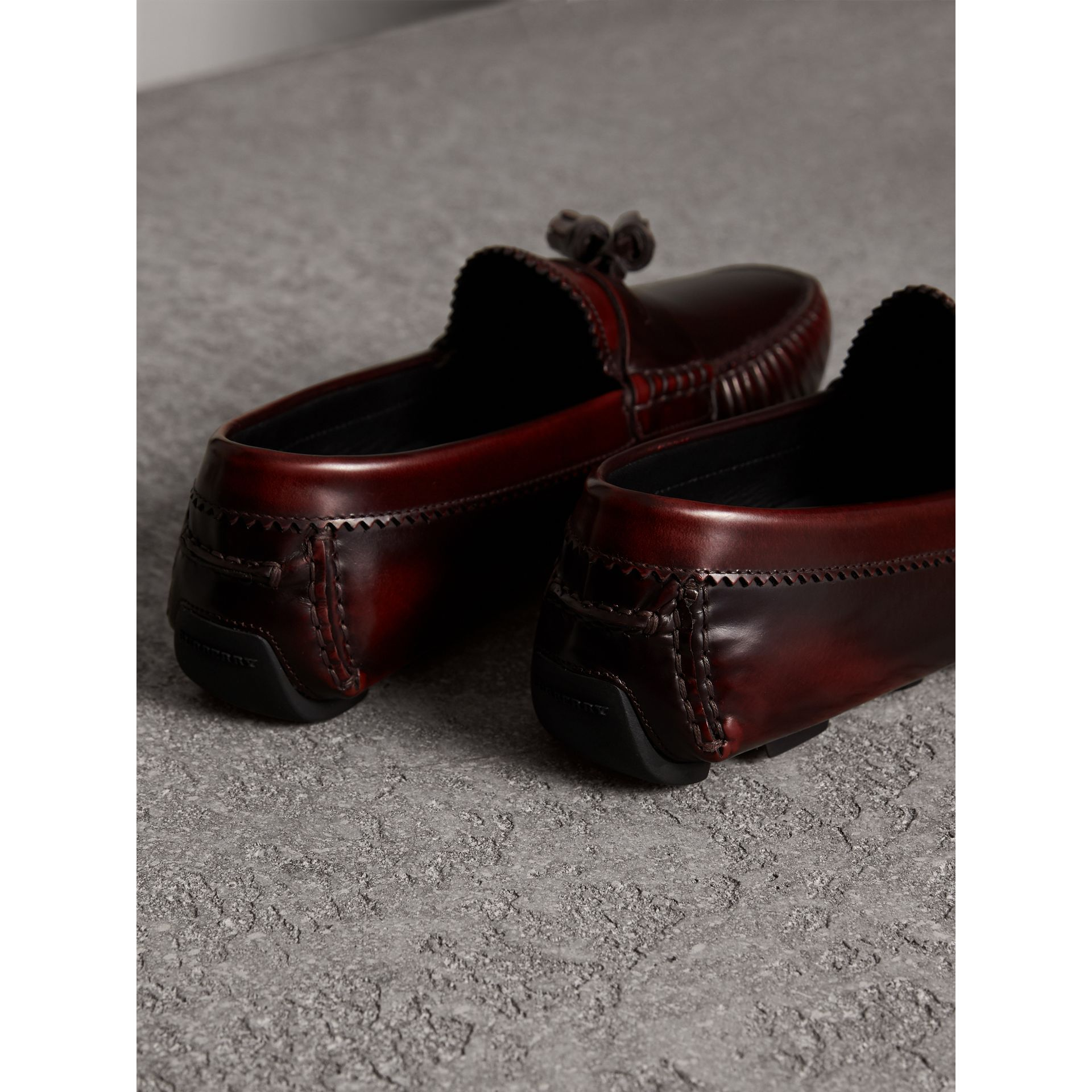 Tasselled Polished Leather Loafers in Bordeaux - Men | Burberry United States - gallery image 3