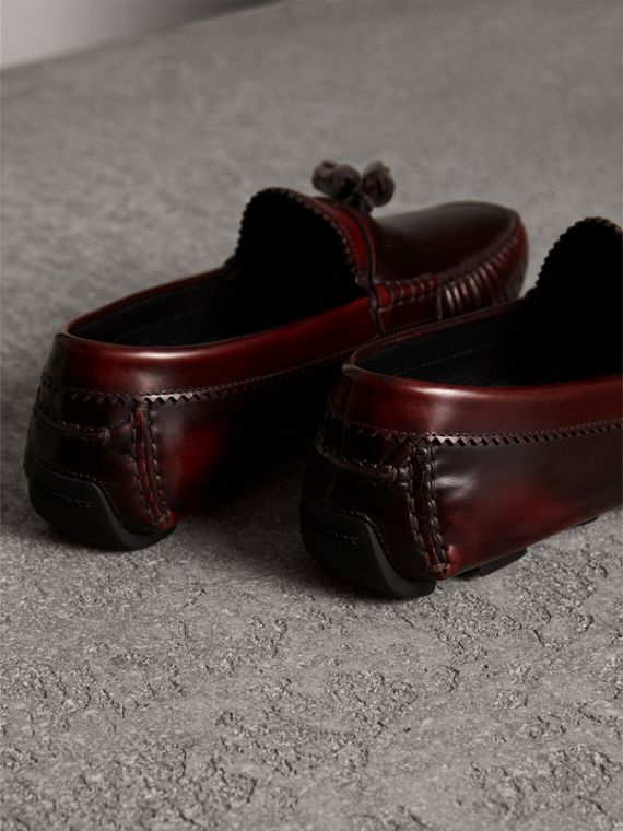 Tasselled Polished Leather Loafers in Bordeaux - Men | Burberry - cell image 2