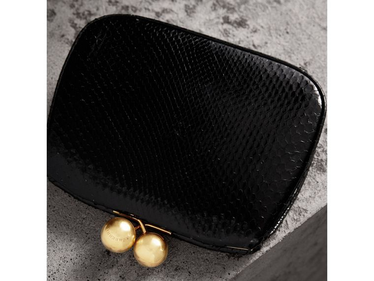 Small Two-tone Python Metal Frame Clutch Bag in Black - Women | Burberry - cell image 4