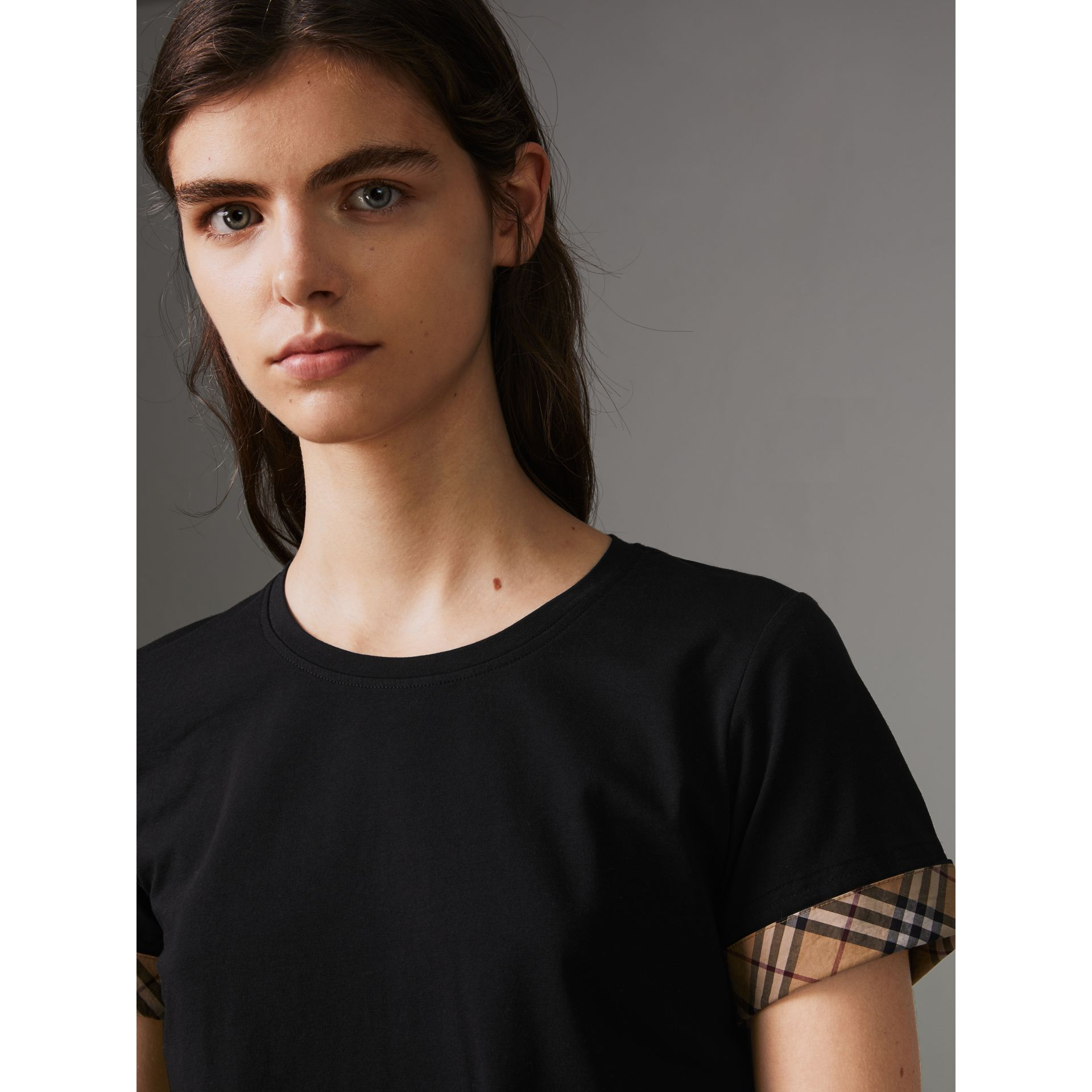 Check Detail Stretch Cotton T-shirt in Black - Women | Burberry - gallery image 1