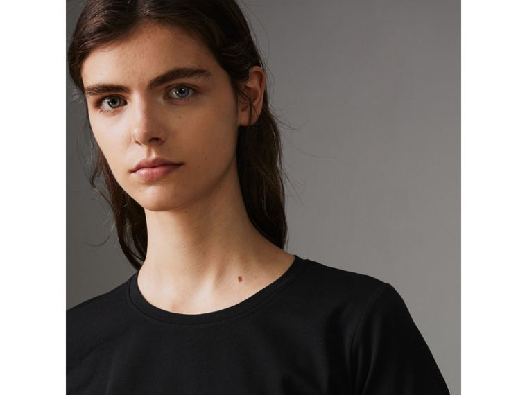 Check Detail Stretch Cotton T-shirt in Black - Women | Burberry - cell image 1