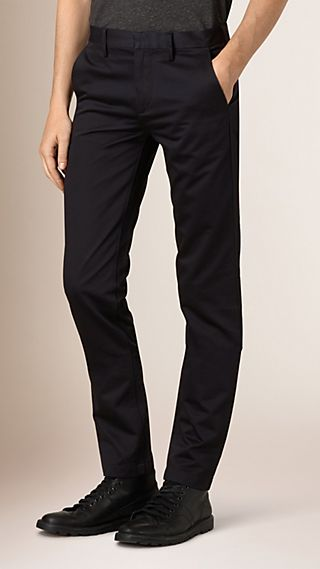 Slim Fit Cotton Sateen Tailored Chinos