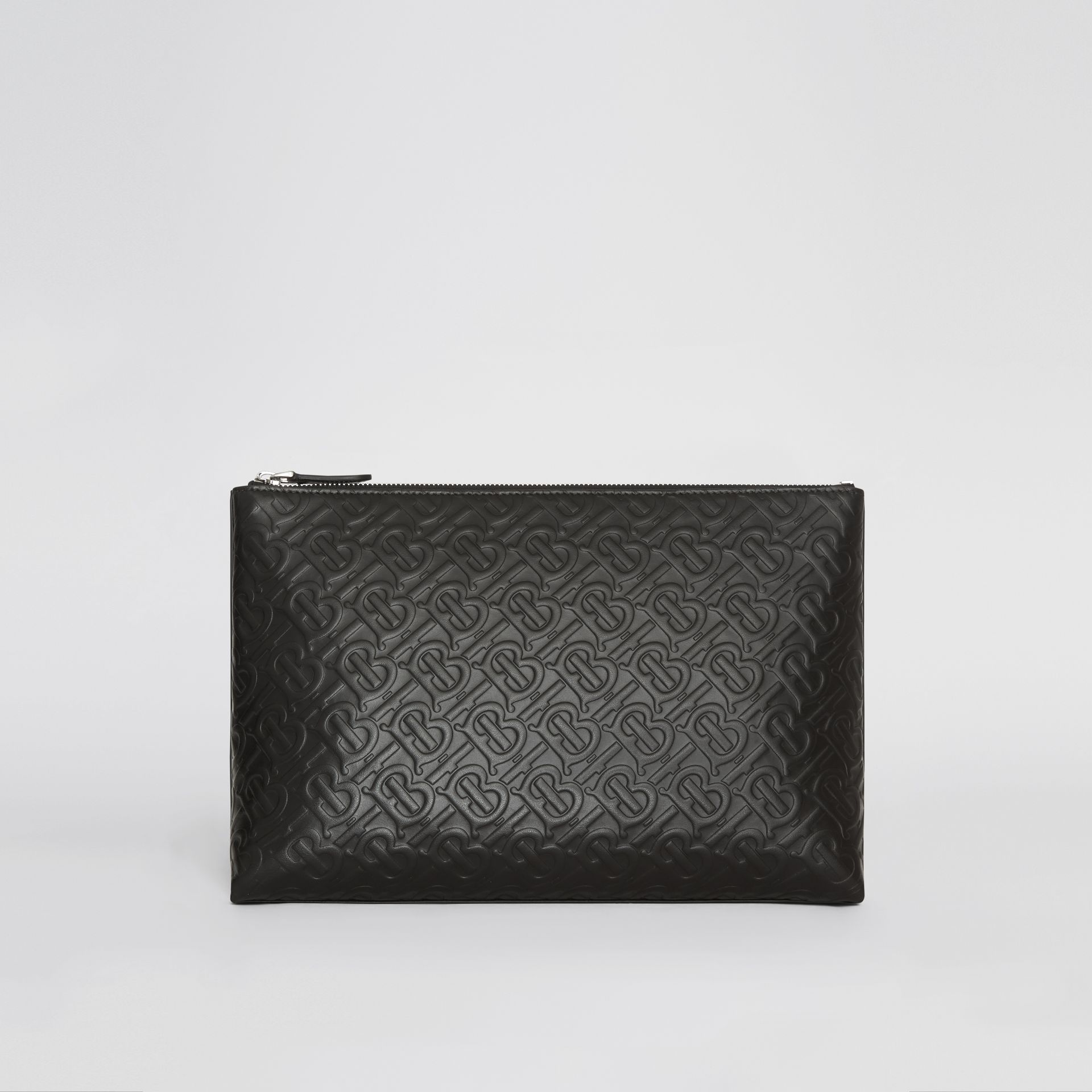 Monogram Leather Zip Pouch in Black - Men | Burberry - gallery image 6