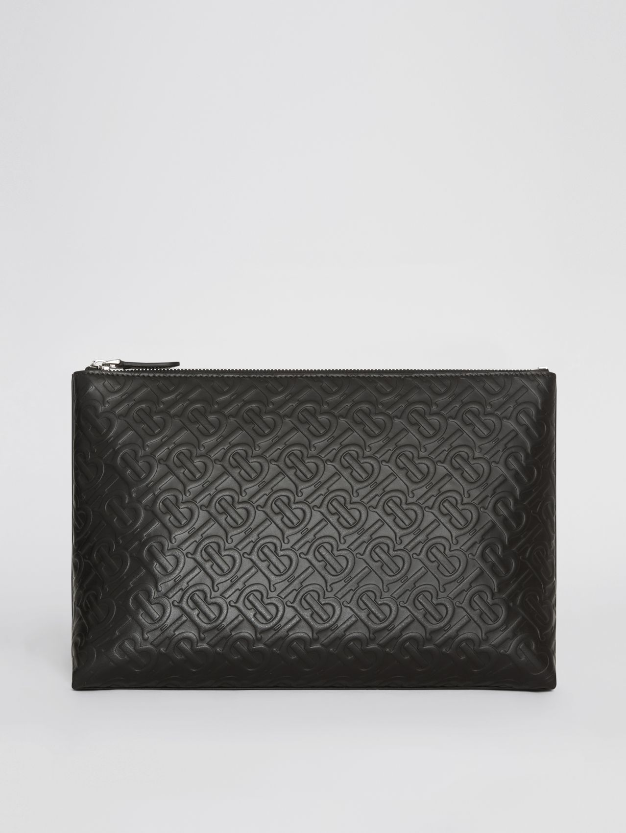 Monogram Leather Zip Pouch (Black)