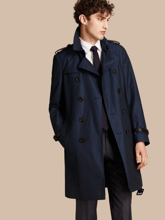 Leather Detail Cotton Gabardine Trench Coat Flint Blue