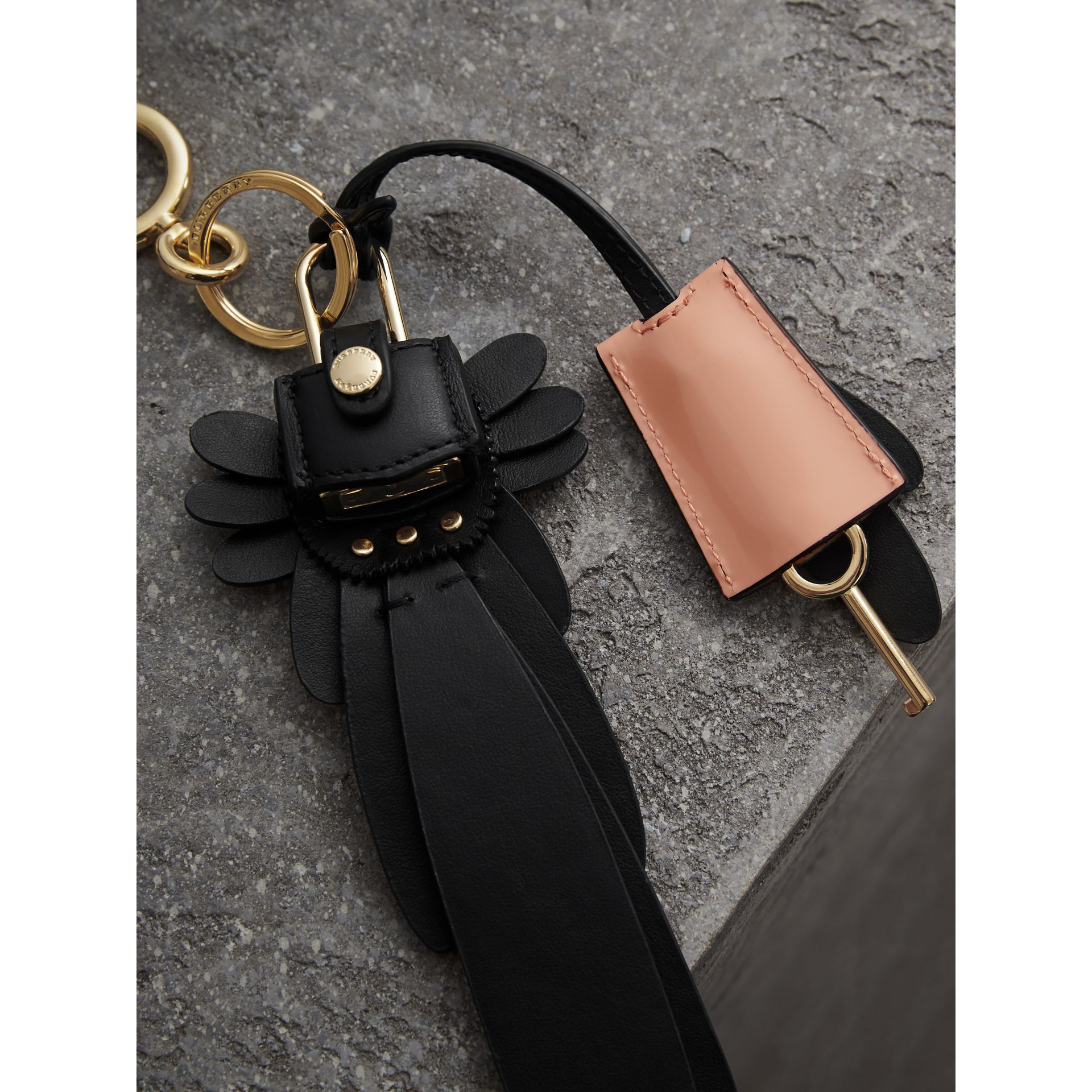 Beasts Leather Key Charm and Padlock in Black - Women | Burberry - gallery image 3