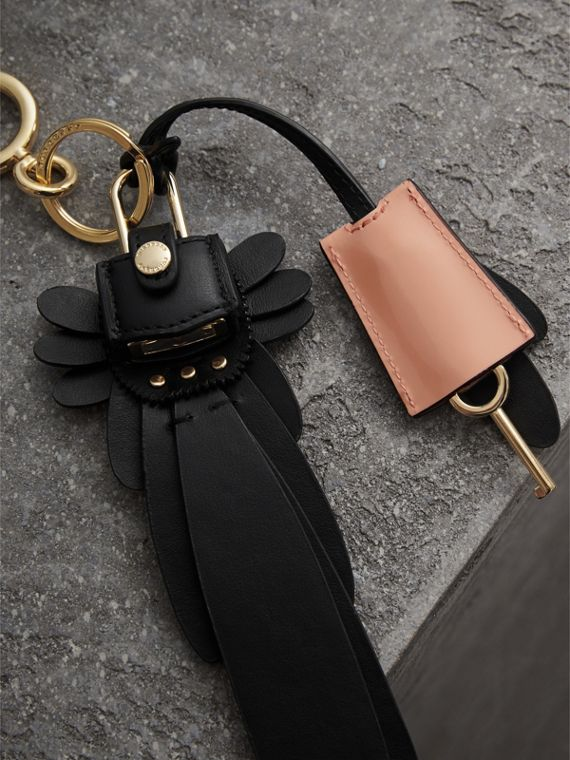 Beasts Leather Key Charm and Padlock in Black - Women | Burberry - cell image 2