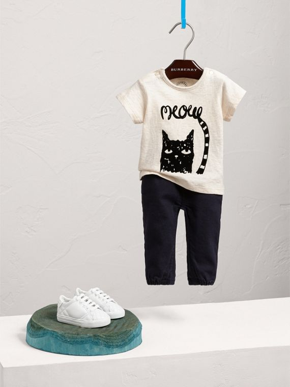 Flocked Cat Motif Cotton T-shirt in Natural Melange