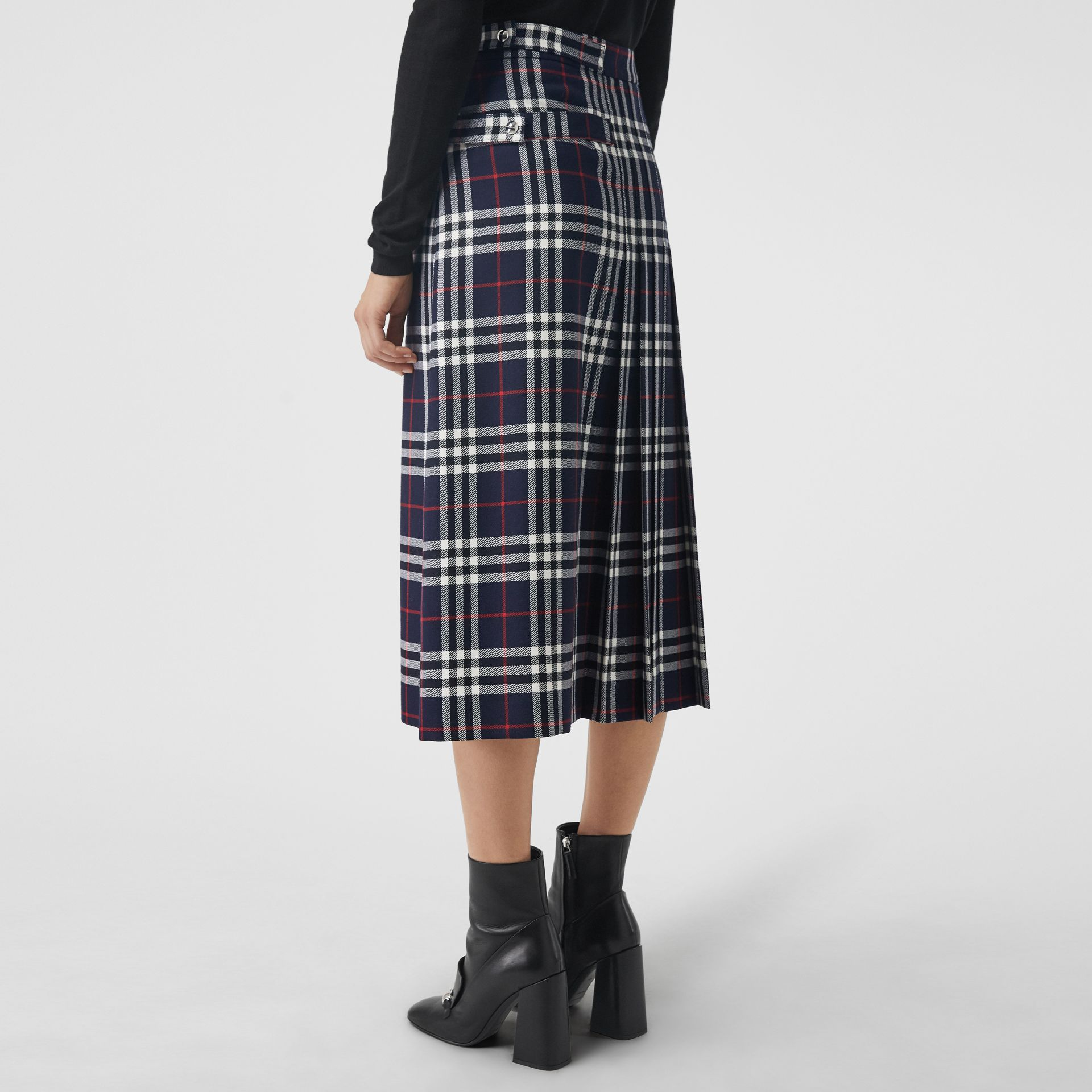 Tartan Wool Kilt in Navy - Women | Burberry - gallery image 2