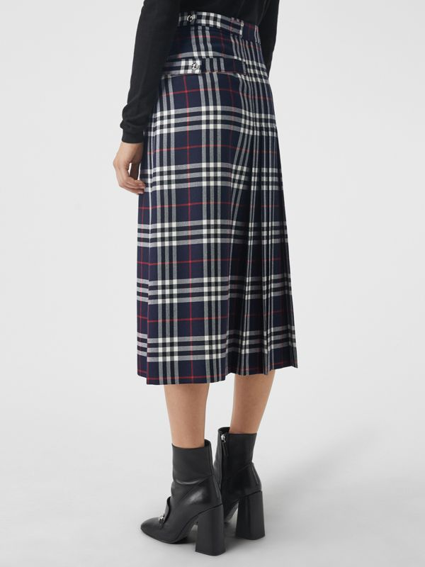 Tartan Wool Kilt in Navy - Women | Burberry - cell image 2