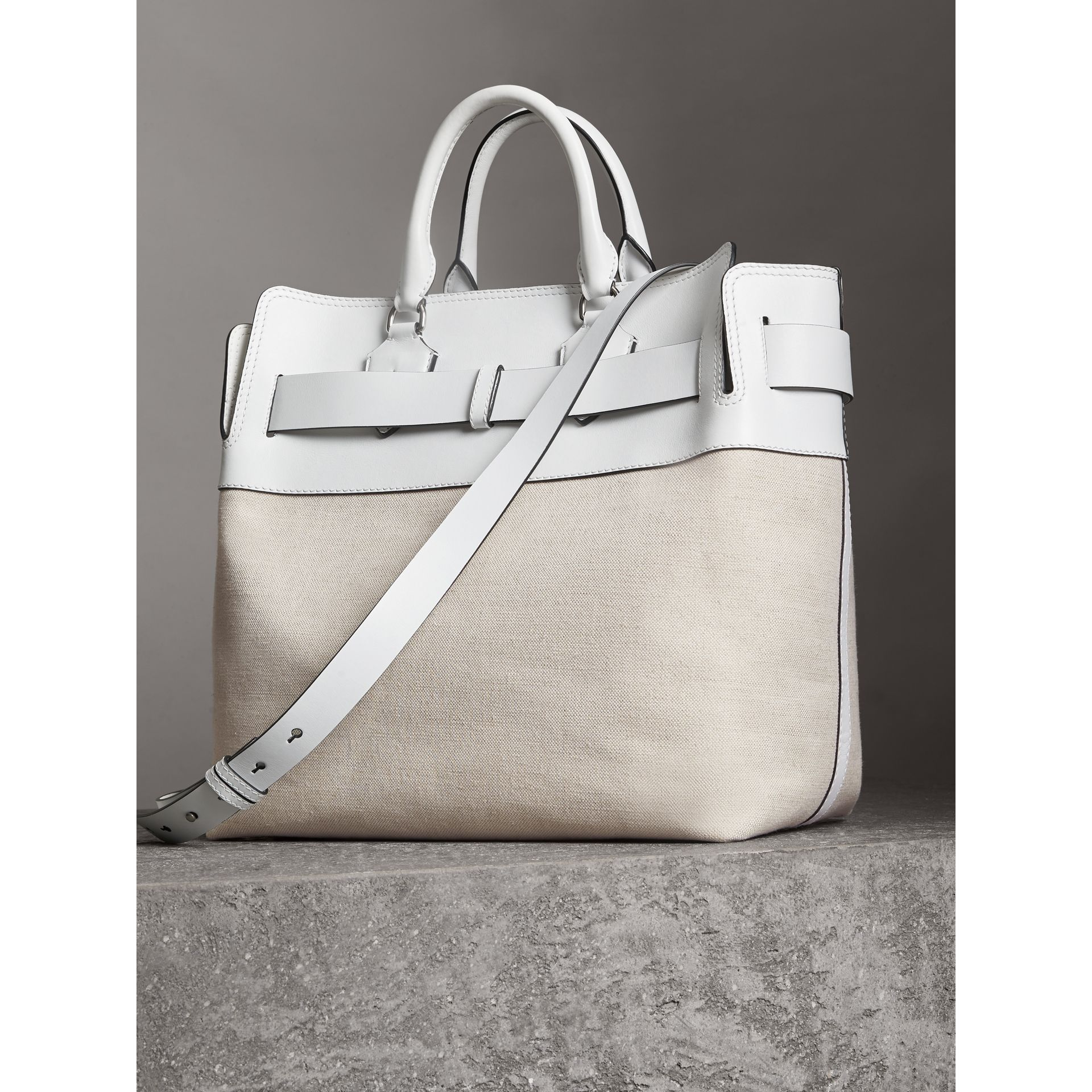 The Large Leather and Canvas Belt Bag in Chalk White | Burberry United States - gallery image 4