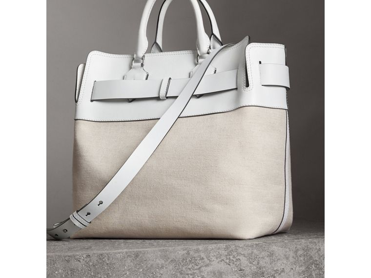 The Large Leather and Canvas Belt Bag in Chalk White | Burberry United States - cell image 4