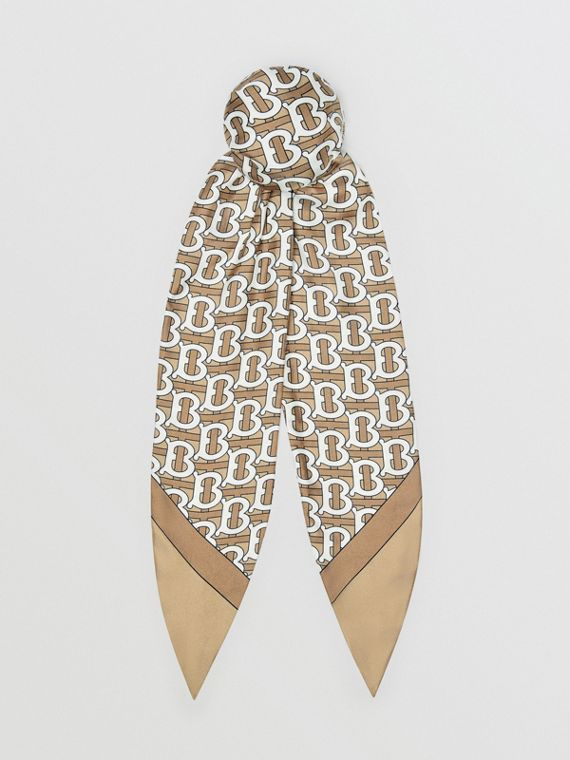 Monogram Print Silk Hair Scarf in Pale Olive