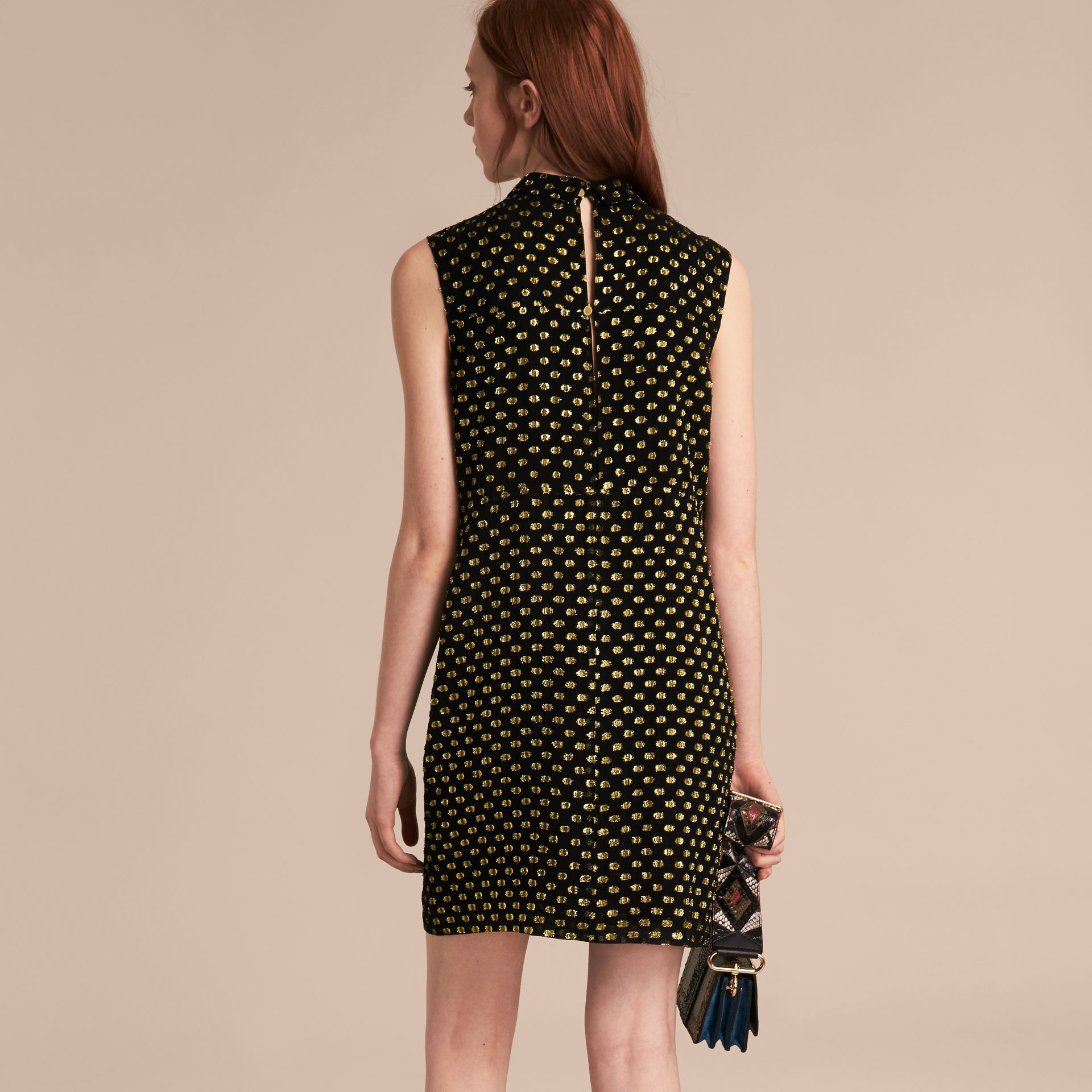 Gold/black Metallic Polka Dot Sleeveless Silk Shift Dress - gallery image 3