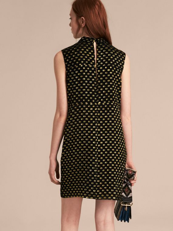 Gold/black Metallic Polka Dot Sleeveless Silk Shift Dress - cell image 2