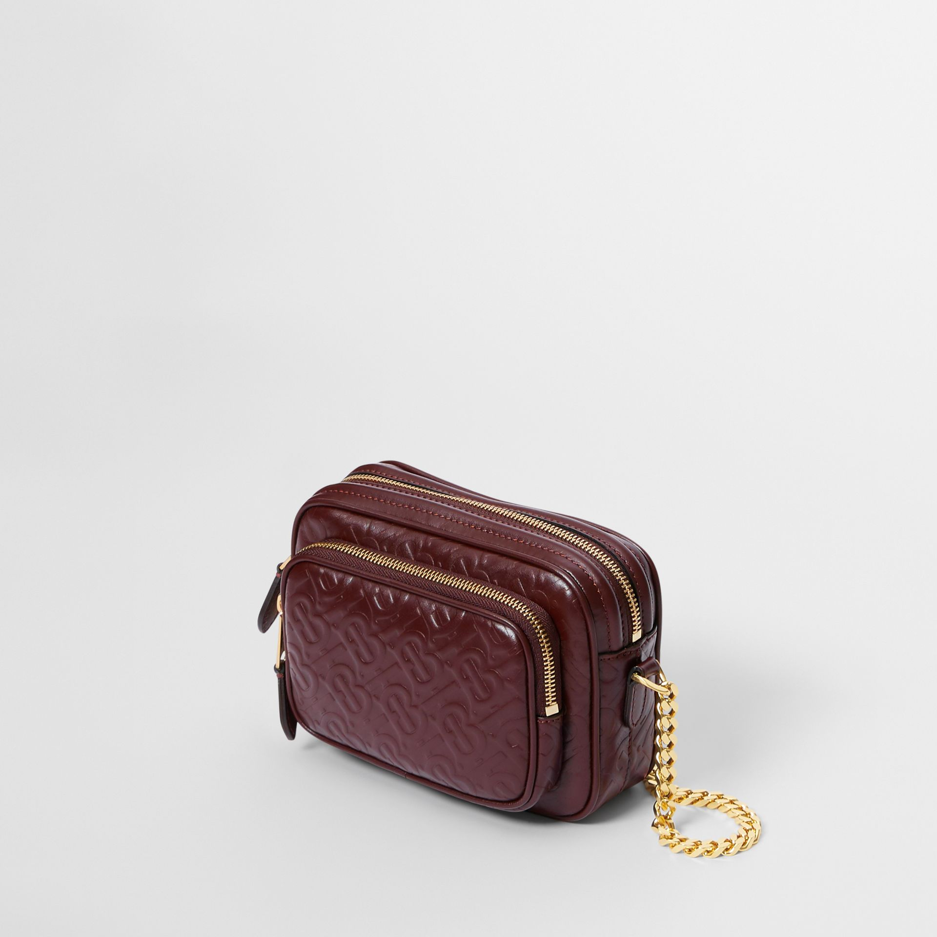 Monogram Leather Camera Bag in Dark Burgundy - Women | Burberry United States - gallery image 2