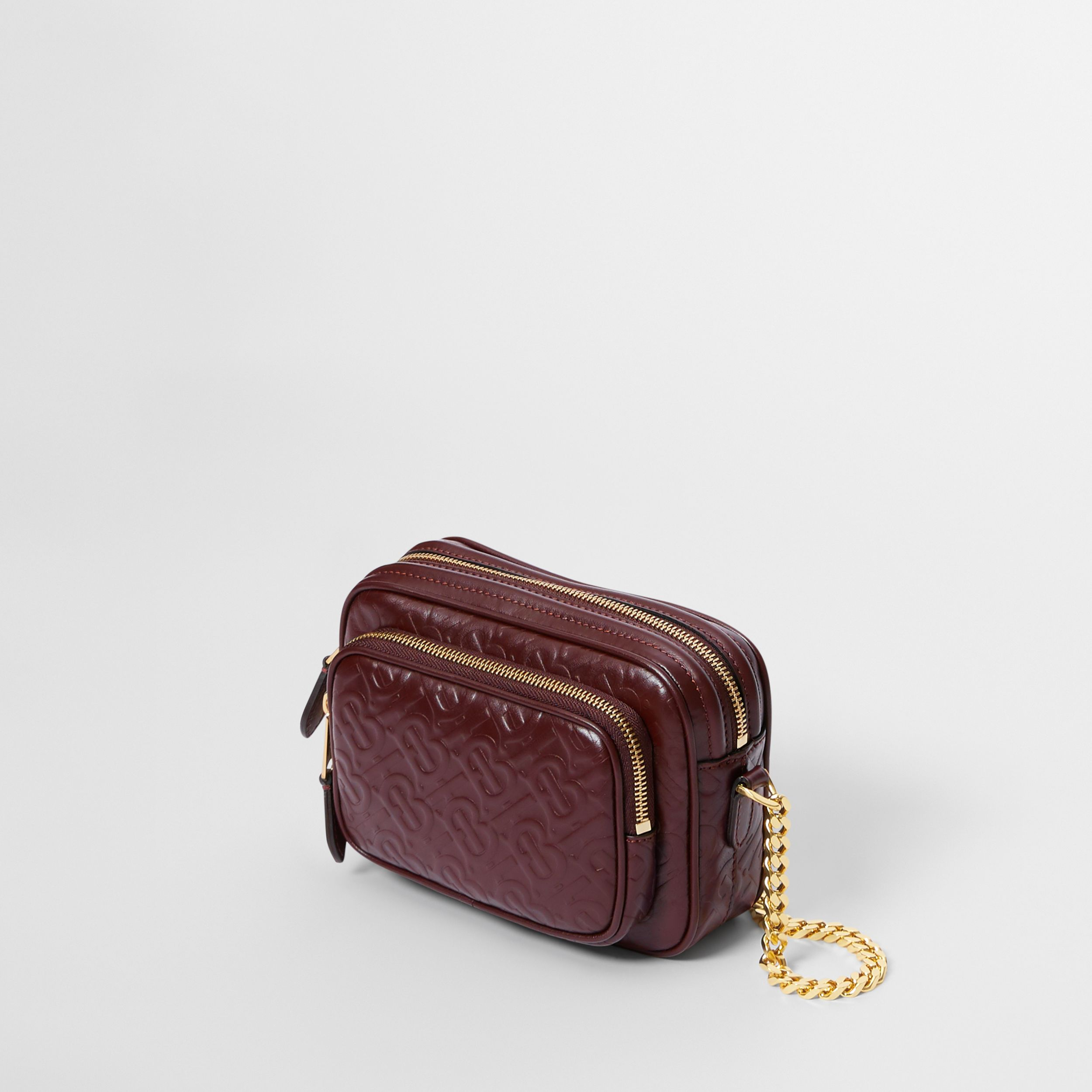 Monogram Leather Camera Bag in Dark Burgundy - Women | Burberry - 4