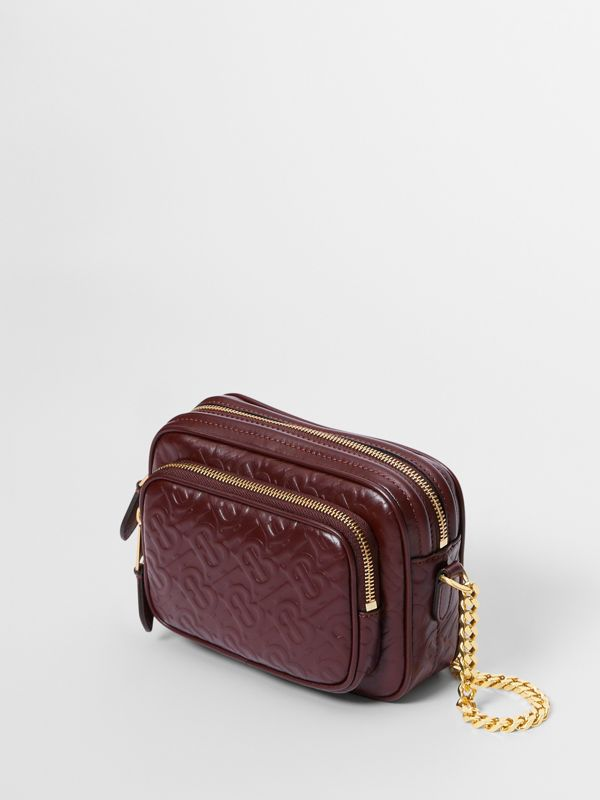 Monogram Leather Camera Bag in Dark Burgundy - Women | Burberry - cell image 2
