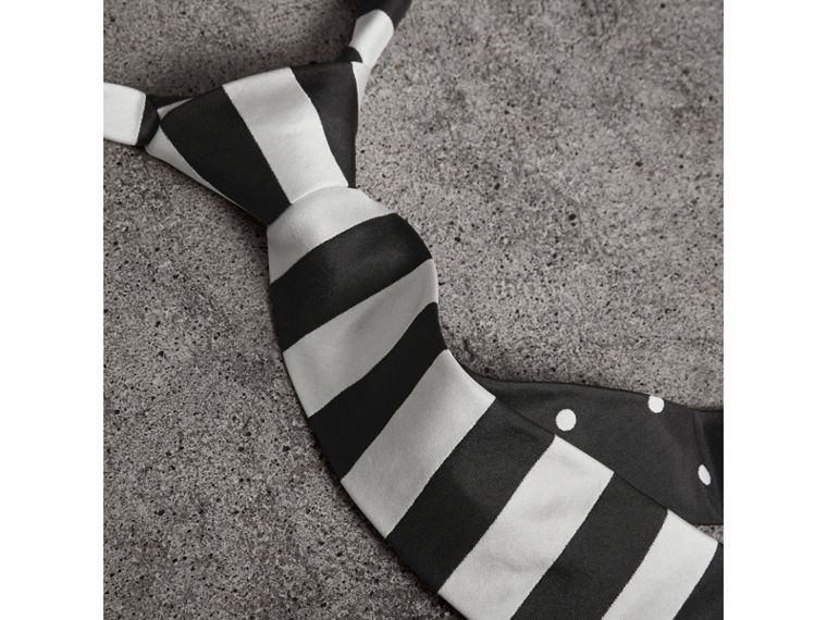 Slim Cut Striped Silk Twill Tie in Black - Men | Burberry United Kingdom - cell image 1