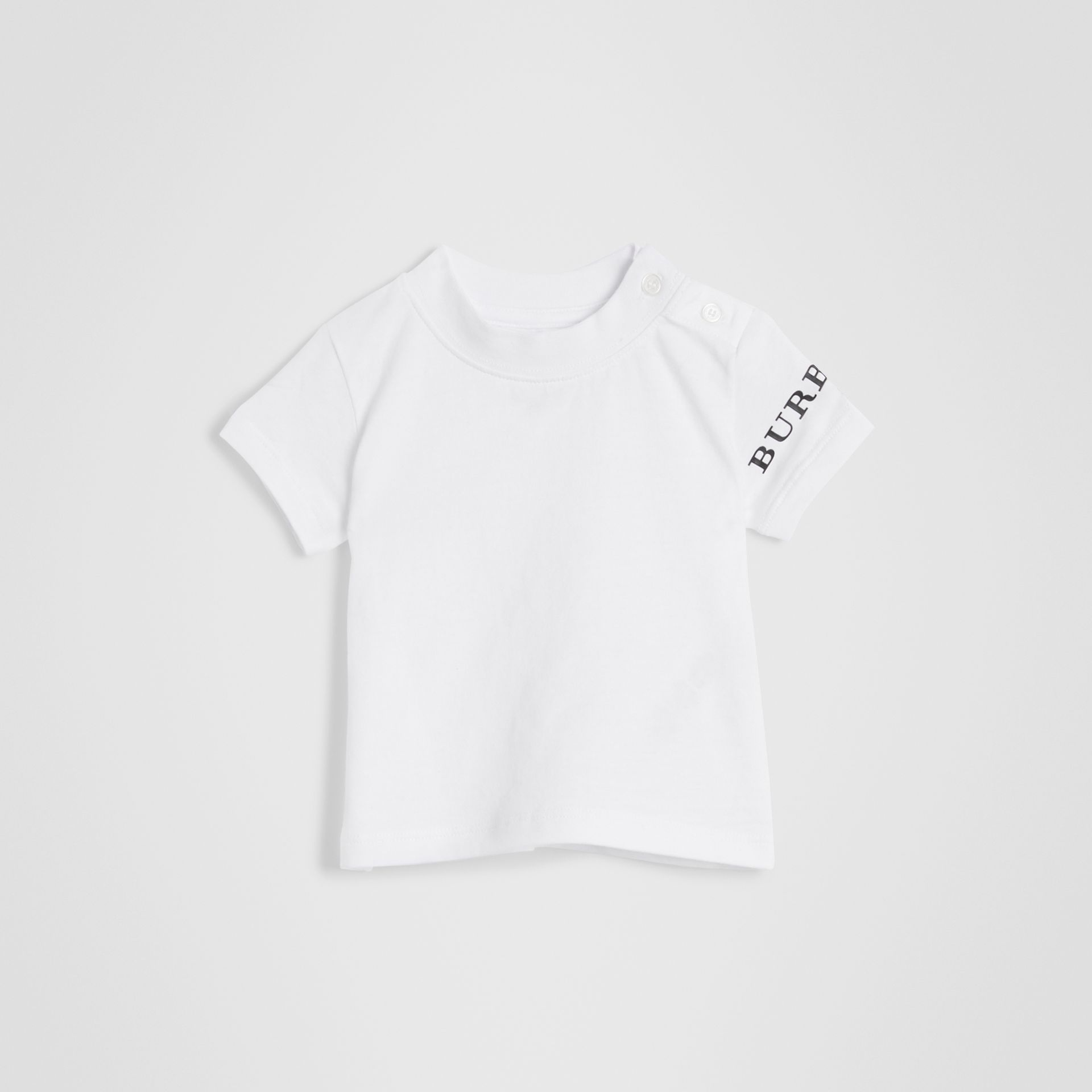 Logo Print Cotton T-shirt in White - Children | Burberry Hong Kong - gallery image 3