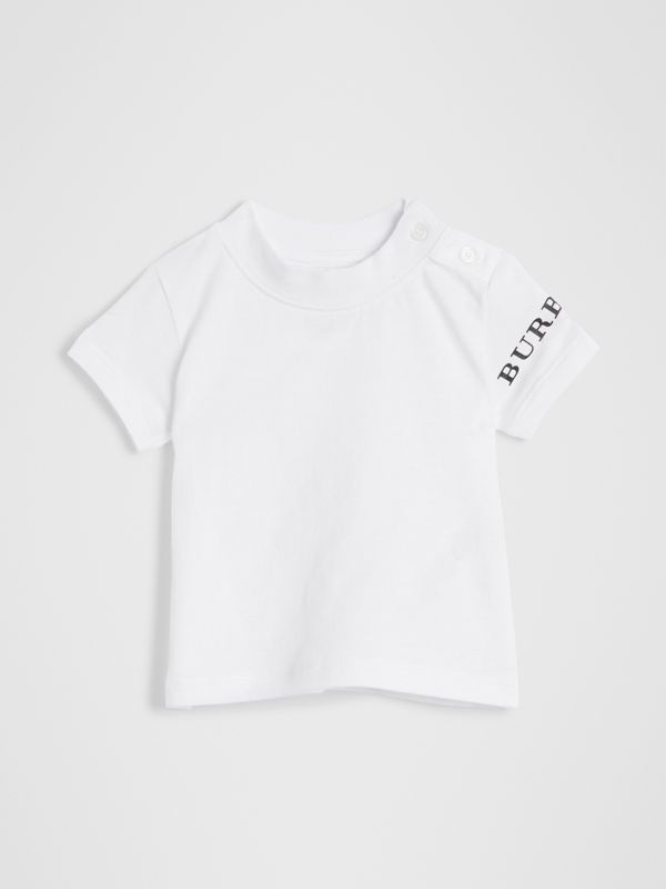 Logo Print Cotton T-shirt in White - Children | Burberry Hong Kong - cell image 3