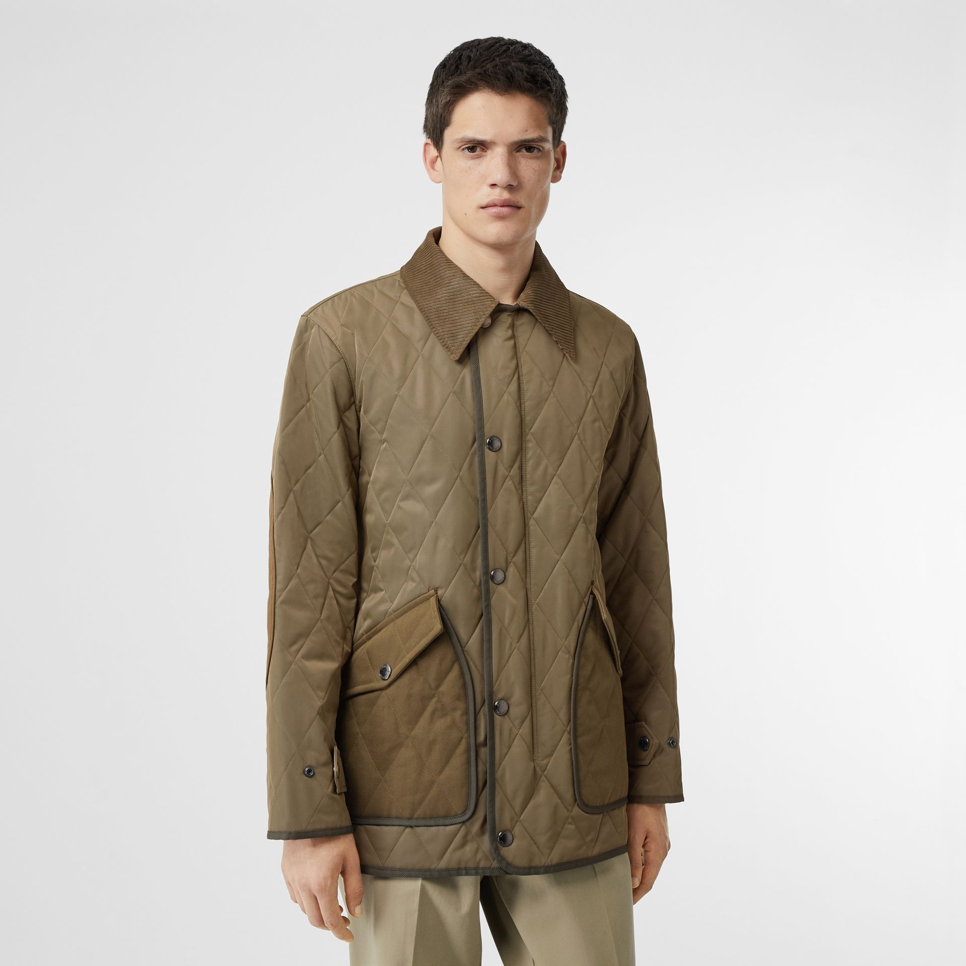 Diamond Quilted Thermoregulated Barn Jacket in Dark Olive - Men | Burberry - gallery image 4