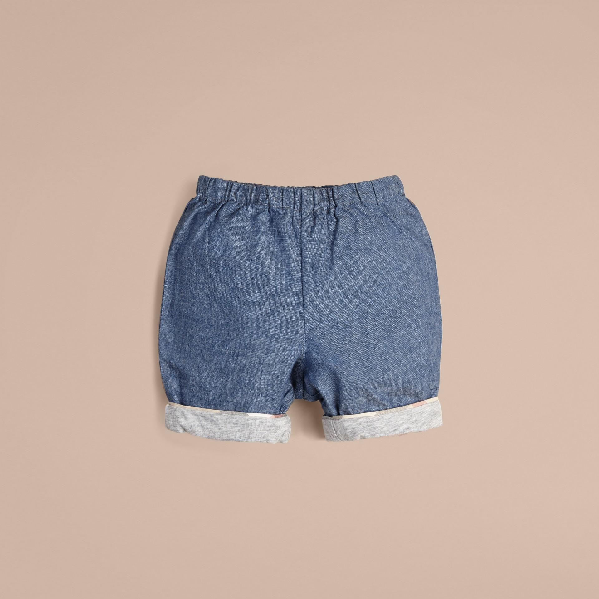 Bleu pierre Short en coton - photo de la galerie 2