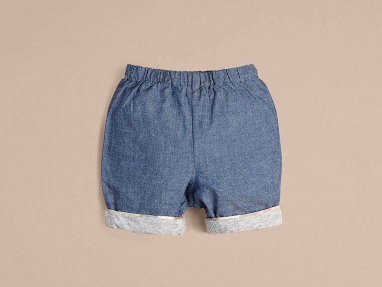 Stone blue Cotton Shorts - cell image 1
