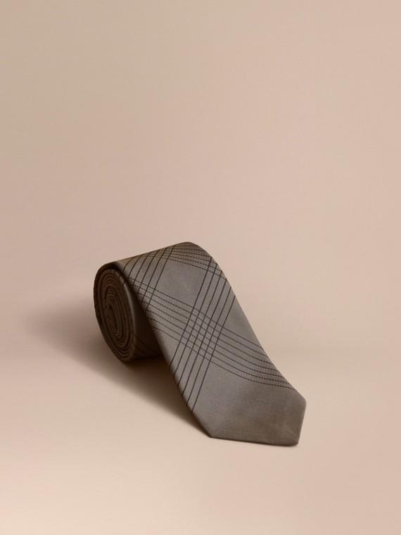 Modern Cut Topstitched Check Silk Tie in Green Grey