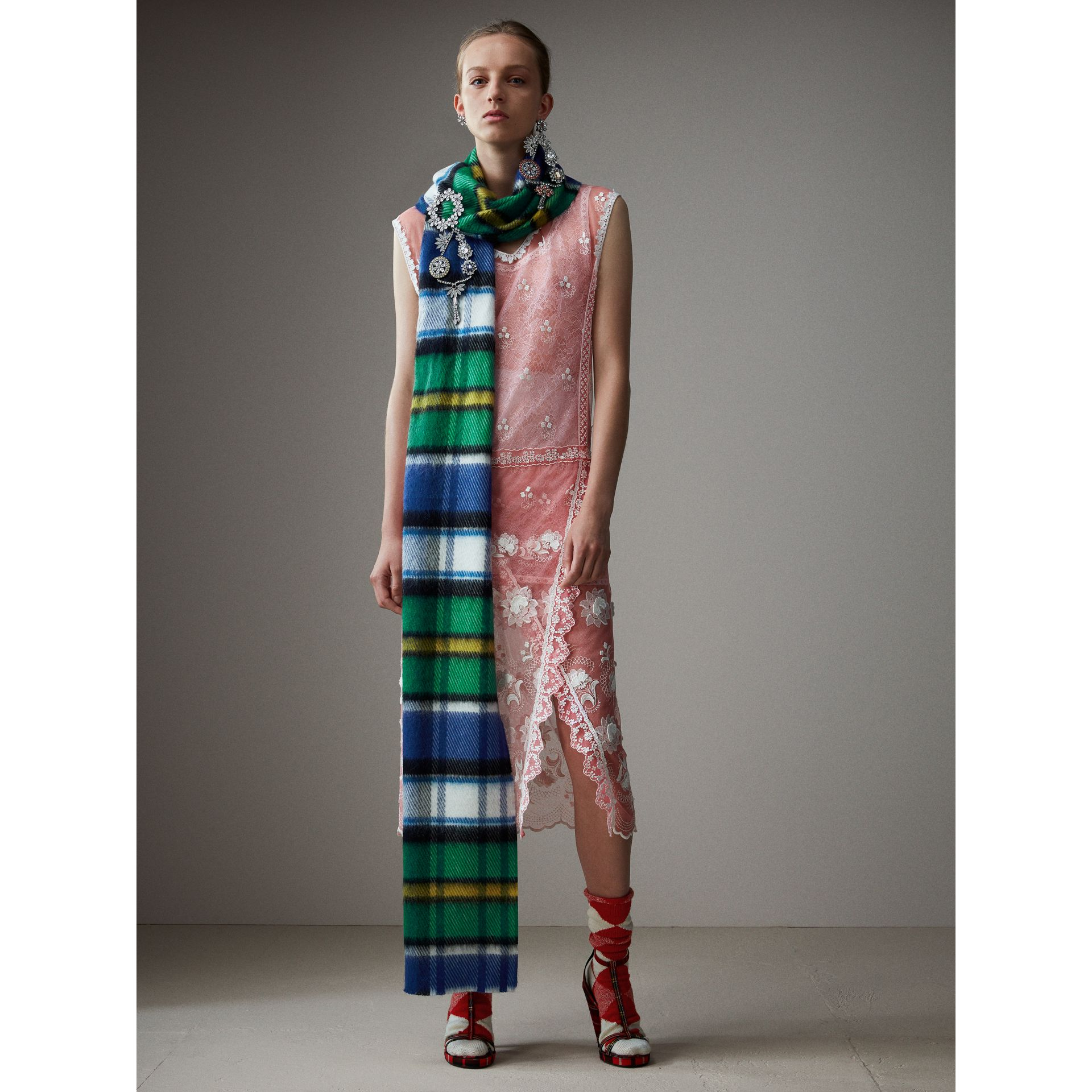 Long Check Wool Mohair Blend Scarf in Cobalt Blue | Burberry - gallery image 2