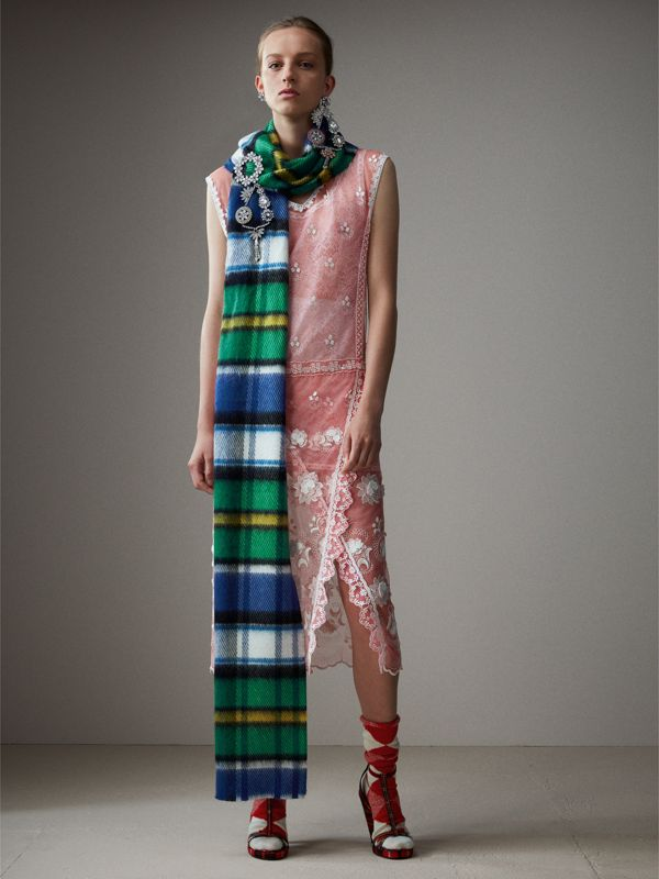 Long Check Wool Mohair Blend Scarf in Cobalt Blue | Burberry - cell image 2