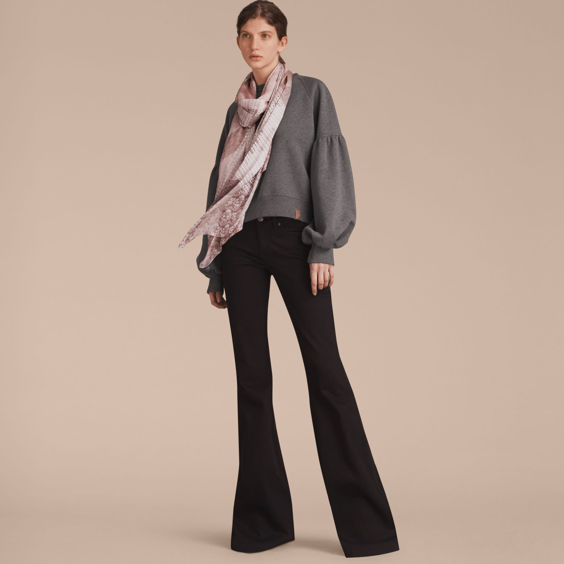 Floral Lace and Check Print Silk Scarf in Ash Rose - Women | Burberry Singapore - gallery image 3