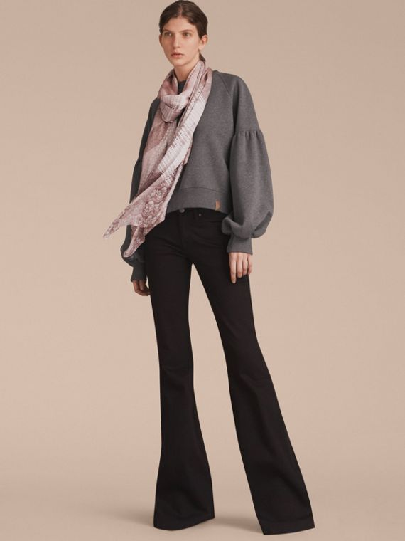 Floral Lace and Check Print Silk Scarf in Ash Rose - Women | Burberry Singapore - cell image 2