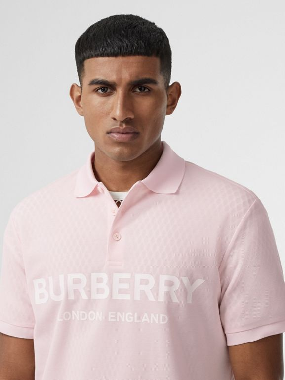 Logo Print Cotton Piqué Polo Shirt in Alabaster Pink - Men | Burberry - cell image 1