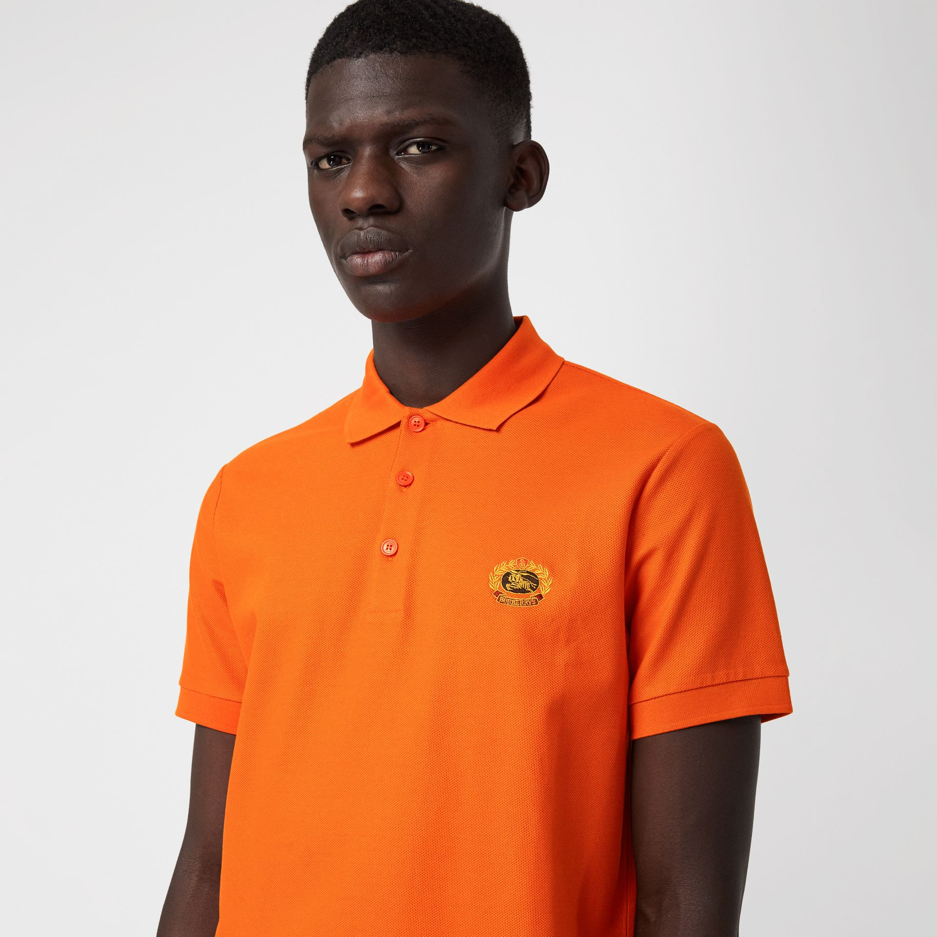 Archive Logo Cotton Piqué Polo Shirt in Clementine - Men | Burberry - gallery image 1