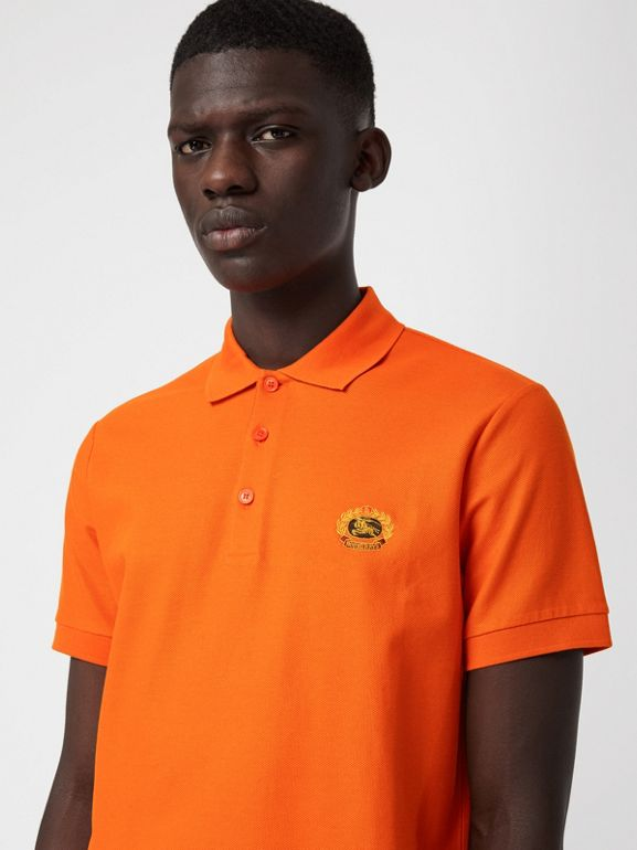Archive Logo Cotton Piqué Polo Shirt in Clementine - Men | Burberry - cell image 1