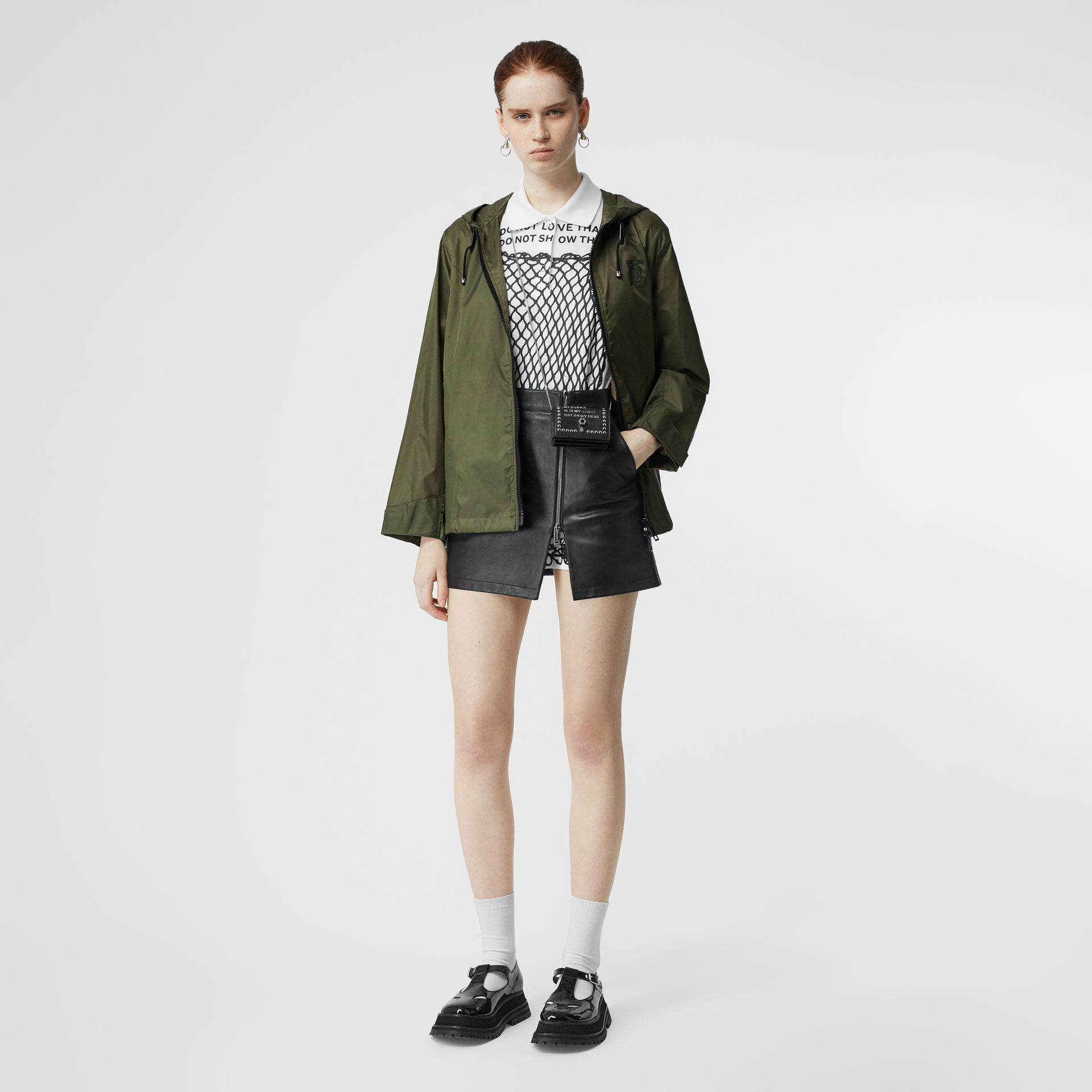 Monogram Motif Lightweight Hooded Jacket in Light Olive - Women | Burberry United States - gallery image 5