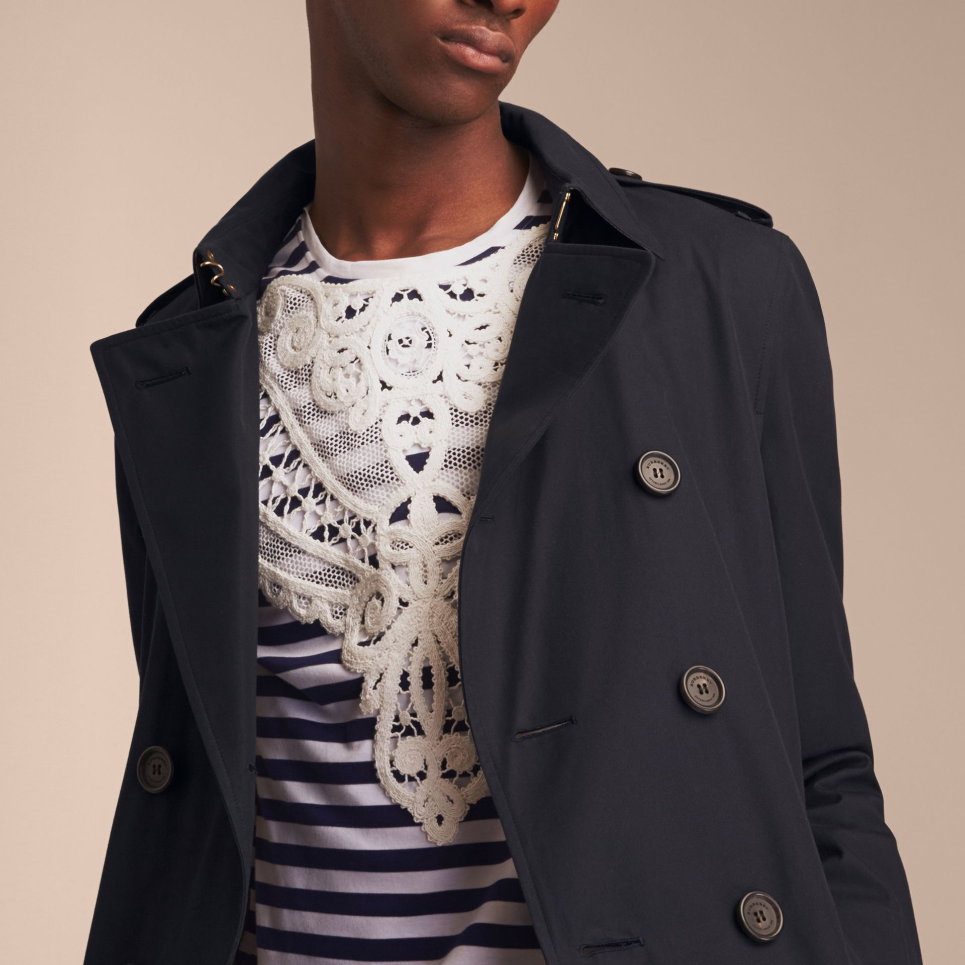 Navy The Chelsea – Long Heritage Trench Coat Navy - gallery image 9