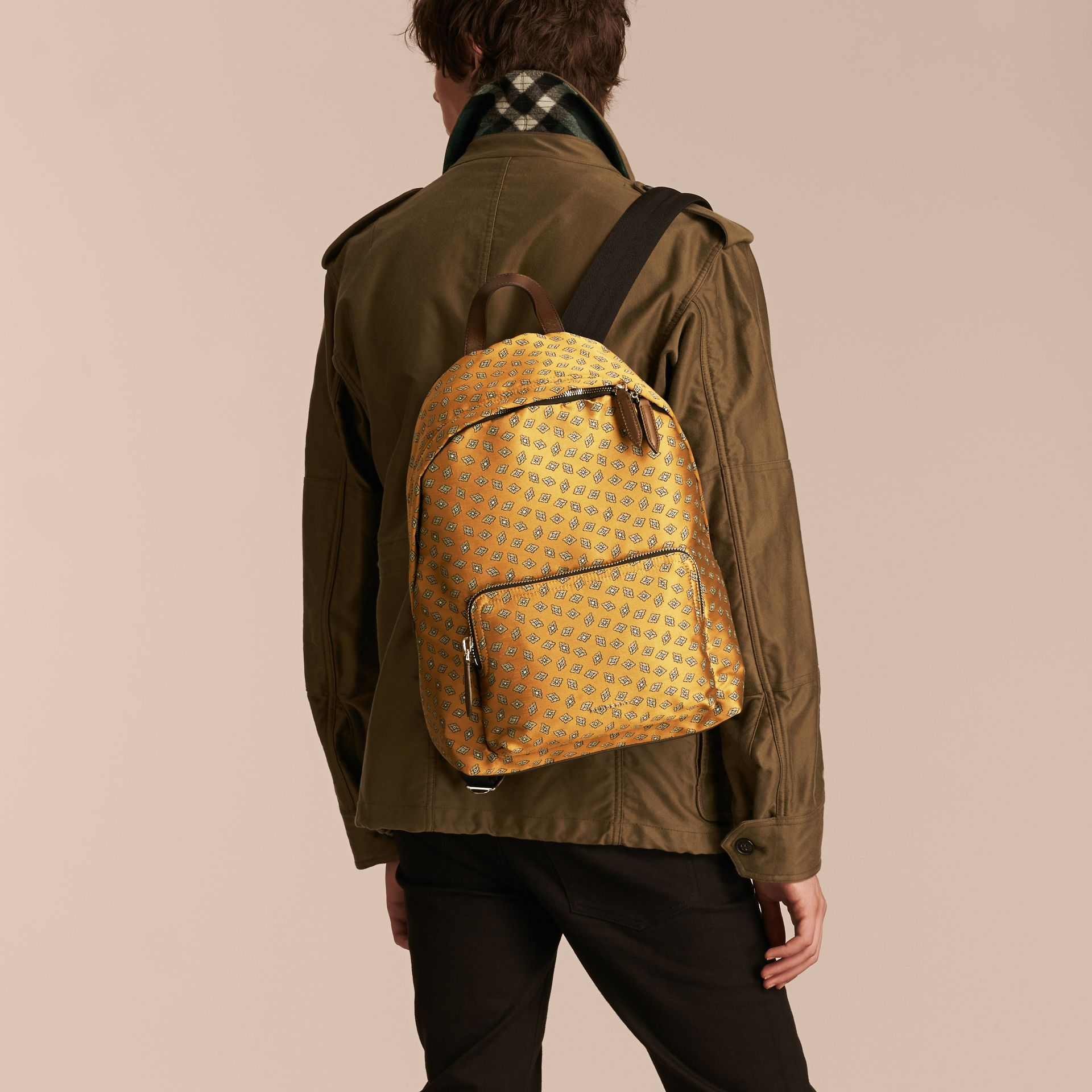 Citrus yellow Leather Trim Abstract Jacquard Backpack Citrus Yellow - gallery image 3