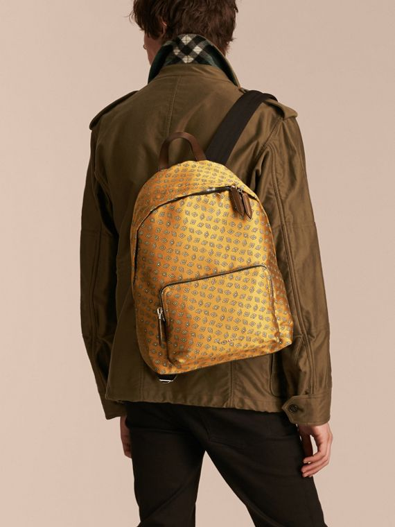 Citrus yellow Leather Trim Abstract Jacquard Backpack Citrus Yellow - cell image 2